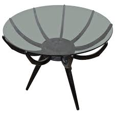 italian modern round black end table by carlo de carli