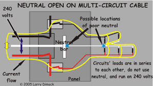 weird circuit problem at home diagram shows current when a double circuit loses its neutral connection