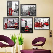 modern painting european red buildings architecture art home