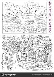 Kleurplaat Pagina Met Schattige Cottage Platteland Landschap