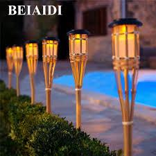 tiki lighting. Interesting Lighting BEIAIDI 10PCS Solar Spike Spotlight Lamps Handmade Bamboo Tiki Torches Light  Outdoor Garden Landscape Lawn In Lighting