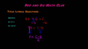 how to solve literal equations algebra i