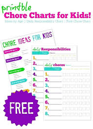 Toddler Chore Chart Template Kid Chore Chart Free Printable Charts For Kids Multiple