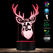 Deer Head Led Light Us 13 2 12 Off Deer Head Deer Antler 3d Optical Illusion Light Woodland Deer Buck Wildlife Led Creative Night Light Decorative Table Lamp In Novelty
