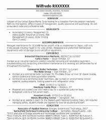 Industrial Maintenance Mechanic Sample Resume Industrial Maintenance Resume Military Resume Examples Industrial 95