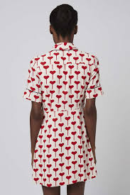 Topshop Heart Print Shirtdress In Red Lyst