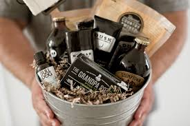 man holding fathers day tin gift basket