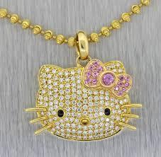 kimora lee simmons 18k gold 55ctw diamond pink sapphire bow necklace hello kitty