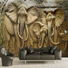 3D Elephant Wallpaper Murals for Living ...