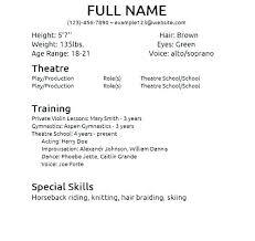 Acting Resume Beginner Acting Resume Template No Experience Acting Resume No Experience