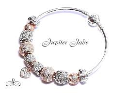 rose gold pandora bracelet authentic silver bangle charms pave heart in jewelry watches fashion charm bracelets
