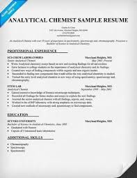 entry - Chemist Resume