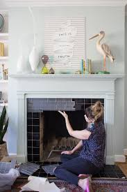 Image Ceramic Tile Tile Fireplace The Home Depot Blog Diy Tile Fireplace Makeover With Peel And Stick Tiles