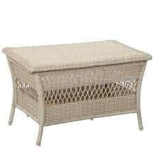 park meadows off white wicker outdoor trunk table