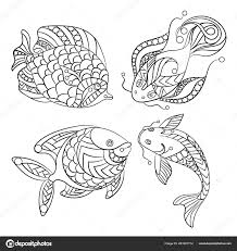 Disegni Colorare Bambini Adulti Con Set Pesci Dell Oceano Mare