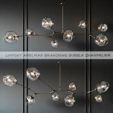 branching bubble 8 lamps gold by lindsey adelman 3d model max obj mtl