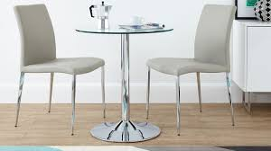 modern round glass and chrome table 2 seater uk for 2 seater dining table and chairs