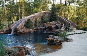 backyard pool with slides. Designer Pool Slides Swimming Design Ideas Backyard Waterfalls Fire Pit And Slide With E