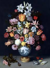 ambrosius bosschaert the elder a still life of flowers in a wan li vase on a ledge with further flowers 1609 national gallery london