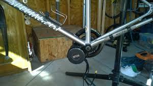 close up of bafang bbs02 motor installation on bike