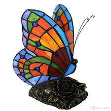 Tiffany Style Stained Glass Butterfly Accent Table Lamp With Handmade Shade Art Butterfly Tiffany Lamp Pure Hand Colored Glass Lamp
