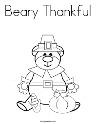 Beary Thankful Coloring Page Twisty Noodle