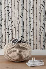 Home Interior:Comfy Reading Area Decor With Birch Tree Wallpaper And Round  Beige Fabric Pouffe