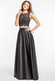 Crochet Crop Top And Satin Skirt Two Piece Prom Dress.