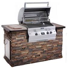 fire magic aurora a430i propane gas bbq grill with one infrared burner and rotisserie in stack stone grill island with cocoa granite countertop bbq guys