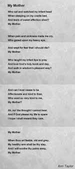 my mother poem by ann taylor poem hunter
