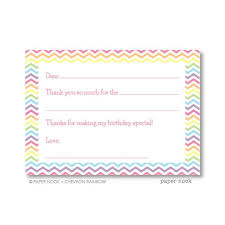 Blank Thank You Notes Chevron Rainbow Printable Fill In The Blank Thank You Note