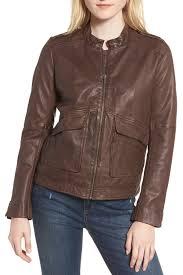 hingepocket detail leather jacket
