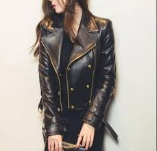 women s black moto style genuine leather motorcycle slim fit biker jacket