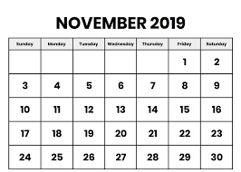 Print Out Calendar Free Blank November 2019 Printable Calendar With Holidays