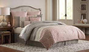 gray and blush pink comforter set
