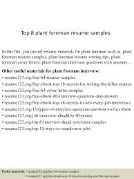 Top 8 Plant Foreman Resume Samples