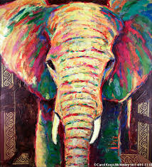colorful elephant painting on canvas