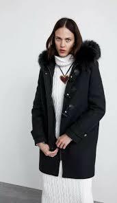 zara wool blend duffle coat with faux fur trim hood black toggle size s rrp 159