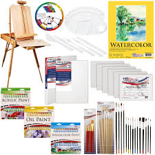 com us art supply 121 piece custom artist painting kit with coronado sonoma easel 24 s acrylic colors 24 s oil painting colors