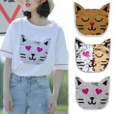 <b>1PC Cute Cat</b> Reversible Color Changing Sequins Sewing on Patch ...
