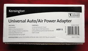 Kensington Universal Auto Air Power Adapter Model 33227 L6