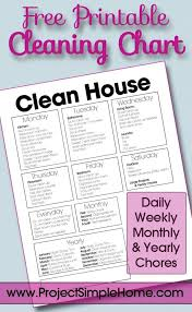Daily Weekly Monthly Chore Chart Free Printable Cleaning Chart With Daily Weekly Monthly