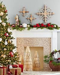 Amazing christmas fireplace mantel decoration ideas Stockings Diy Wooden Christmas Tree Replicas And Handmade Snowflakes Adorn The Fireplace Decoist 50 Christmas Mantle Decoration Ideas