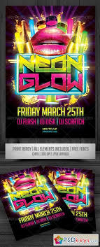 glow flyer neon glow flyer 834970 free download photoshop vector stock image