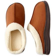 mens bedroom slippers wide. dearfoams sherpa cuff clog slippers (255 czk) ❤ liked on polyvore featuring men\u0027s fashion, shoes, slippers, brown, mens wide bedroom e