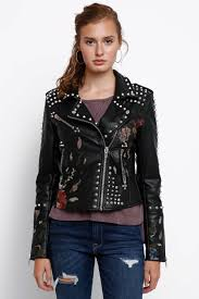 embroidered studded fl faux leather jacket