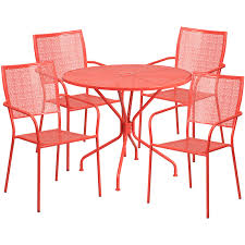 35 25 round c indoor outdoor steel patio table set with 4 square back chairs