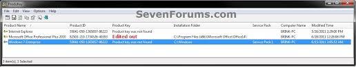 key number for windows 7 find