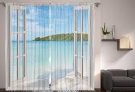 Ocean View Living Room Bedroom 2 Panel Curtain