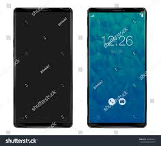stock vector modern smartphone with thin frames in black color with blank screen mockup simple way to put a